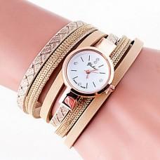 Women Quartz PU Band Bracelet Watch