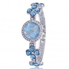 Women Rhinestone Flower Bracelet Watch