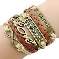 Women Bronze LOVE Leather Bracelet