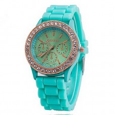 Women's Diamante Case Silicone Band Watch