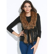 Women's Fur Collar Leather Jacket