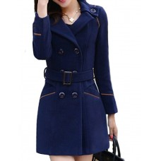 Women's Solid Double Breasted Coat
