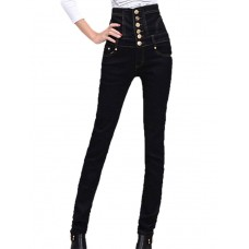 Women's High Solid Jeans Pants
