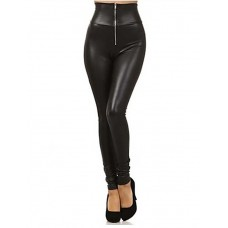 Women's Zipper Leather Leggings