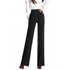 Women's Solid Black Straight Pants