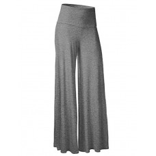 Women's Solid Gray Wide Leg Pants