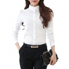 Women's Lace Patchwork Stripe Shirt