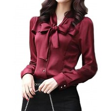 Women's Long Sleeve Bowknot Shirts
