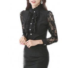 Women's Patchwork Lace Chiffion Shirt