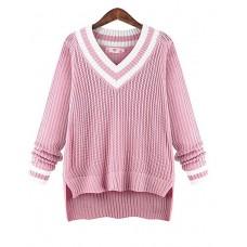 Women's V Neck Polyester Pullover