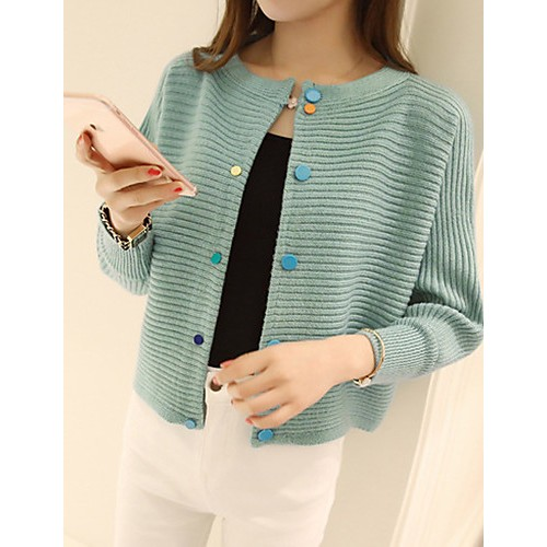 Simple Cardigan Striped Pullover