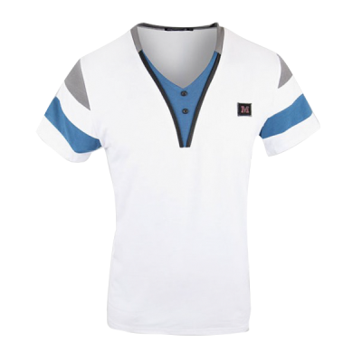 Men's Stylish Short Sleeve Polo Shirt - White/Blue