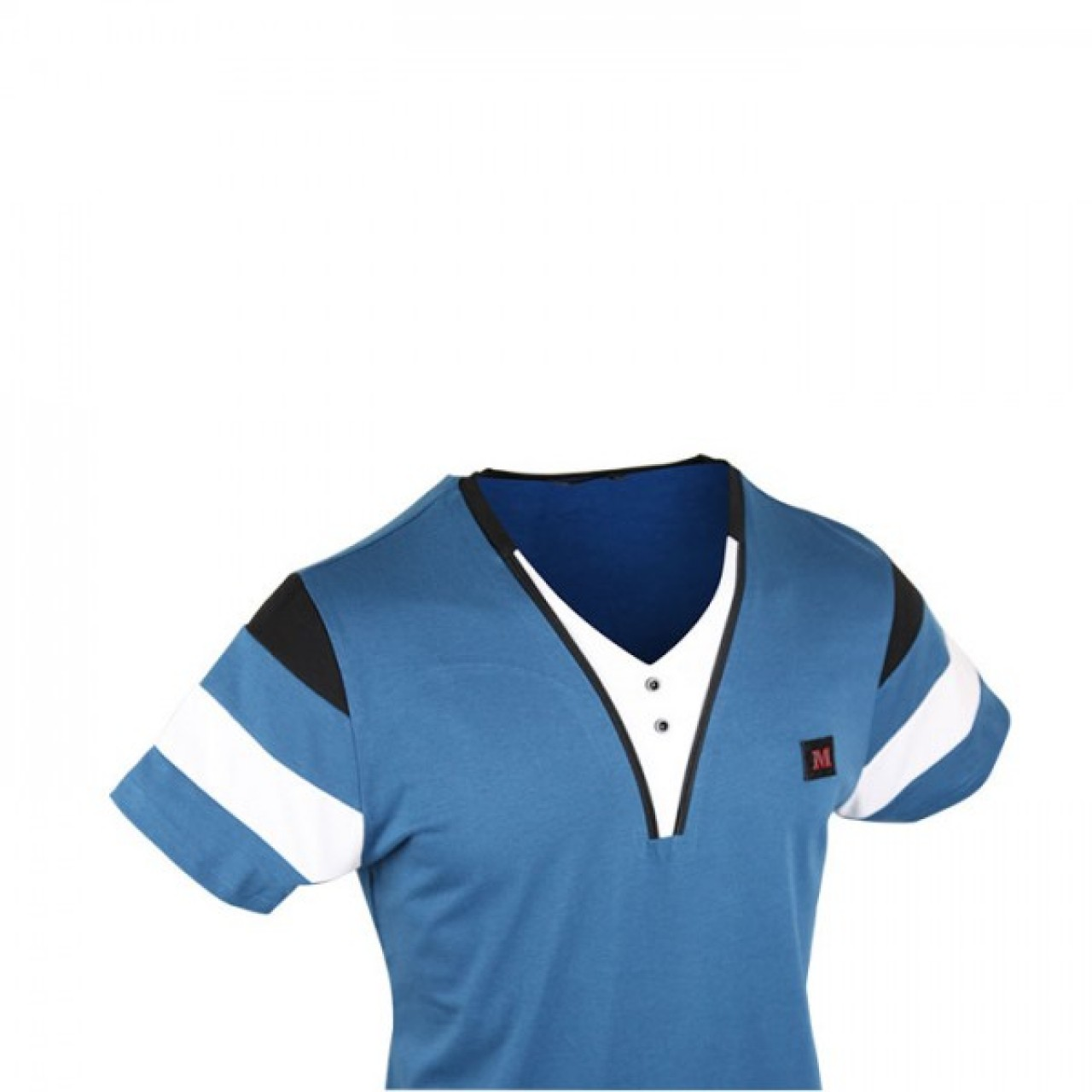 Men's Stylish Short Sleeve Polo Shirt - White/Blue