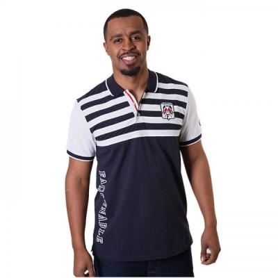 Textured Regular Fit White Striped Polo Shirt For Men - Navy Blue