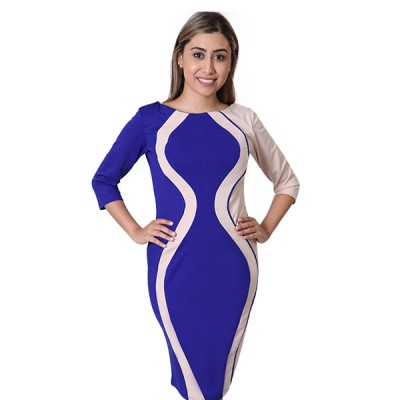 Multicolor Contrast Panel Pencil Midi Bodycon Dress For Women