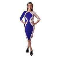 Multicolor Contrast Panel Pencil Midi Bodycon Dress For Women