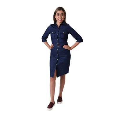 Women Dark Blue Vintage Collared Elegant Long Sleeve Bodycon Casual Dress