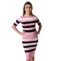Pencil Fit White/Black Striped Bodycon Dress For Women - Light Pink