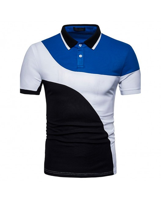 Men's Chinoiserie Cotton Colored Collar Patchwork Short Sleeve Polo Shirt