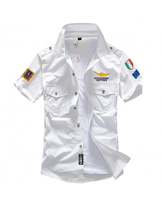 Men's Geometric Shirt Sleeveless Daily Slim Tops Cotton Streetwear Military White
