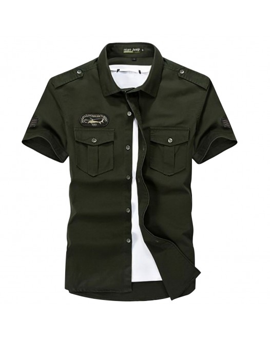 Men's Solid Colored Plus Size Shirt Basic Short Sleeve Daily Slim Tops Military Classic Collar Army Green