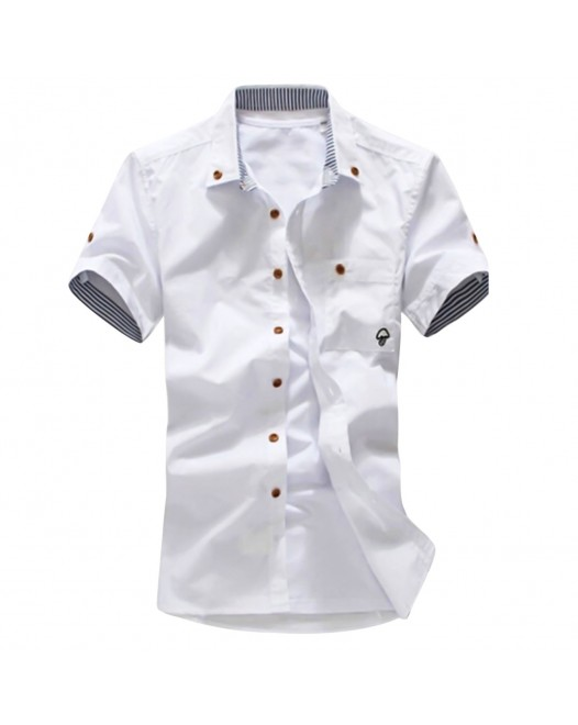 Men's Solid Colored Plus Size Shirt Print Short Sleeve Daily Slim Tops Button Down Collar White