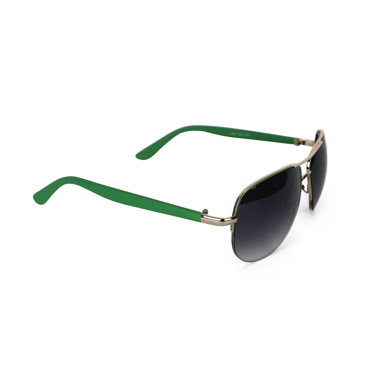 Unisex Polarized half rimmed Green Aviator Sunglasses