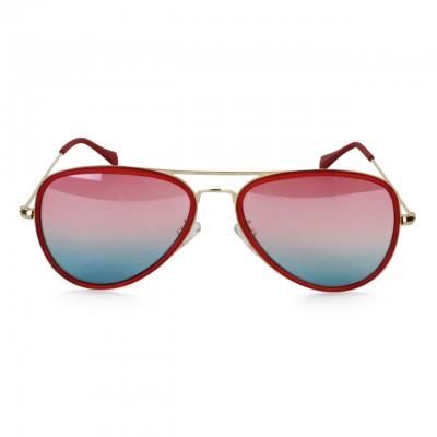 Unisex Polarized Crimson Red Full-Rimmed Aviator Sunglasses