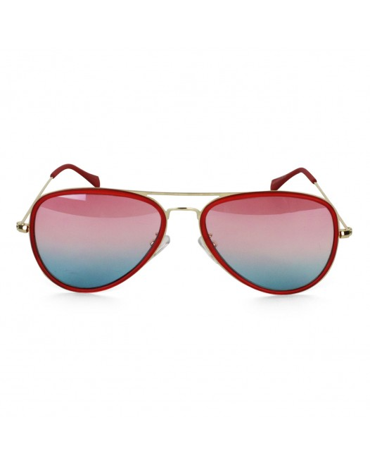 Unisex Polarized Crimson Red Full-Rimmed Aviator Sunglasses