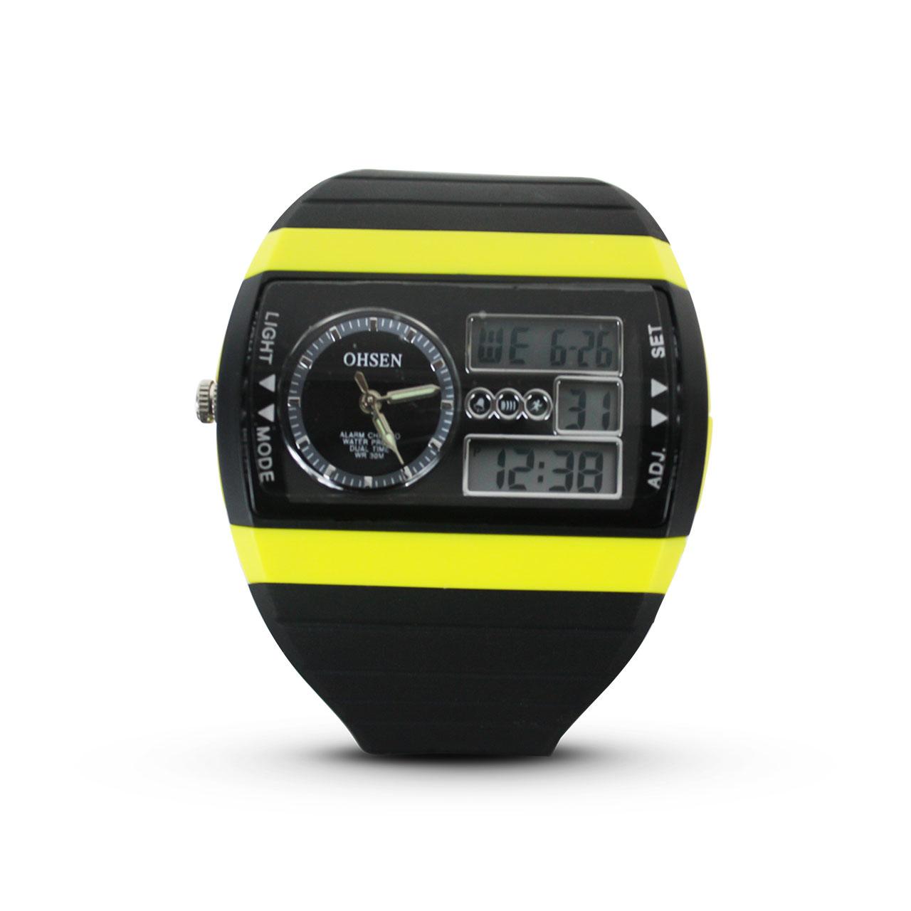 OHSEN Analog Digital Water Resistant Quartz LED 12/24Hrs Sport Rubber Wristwatch