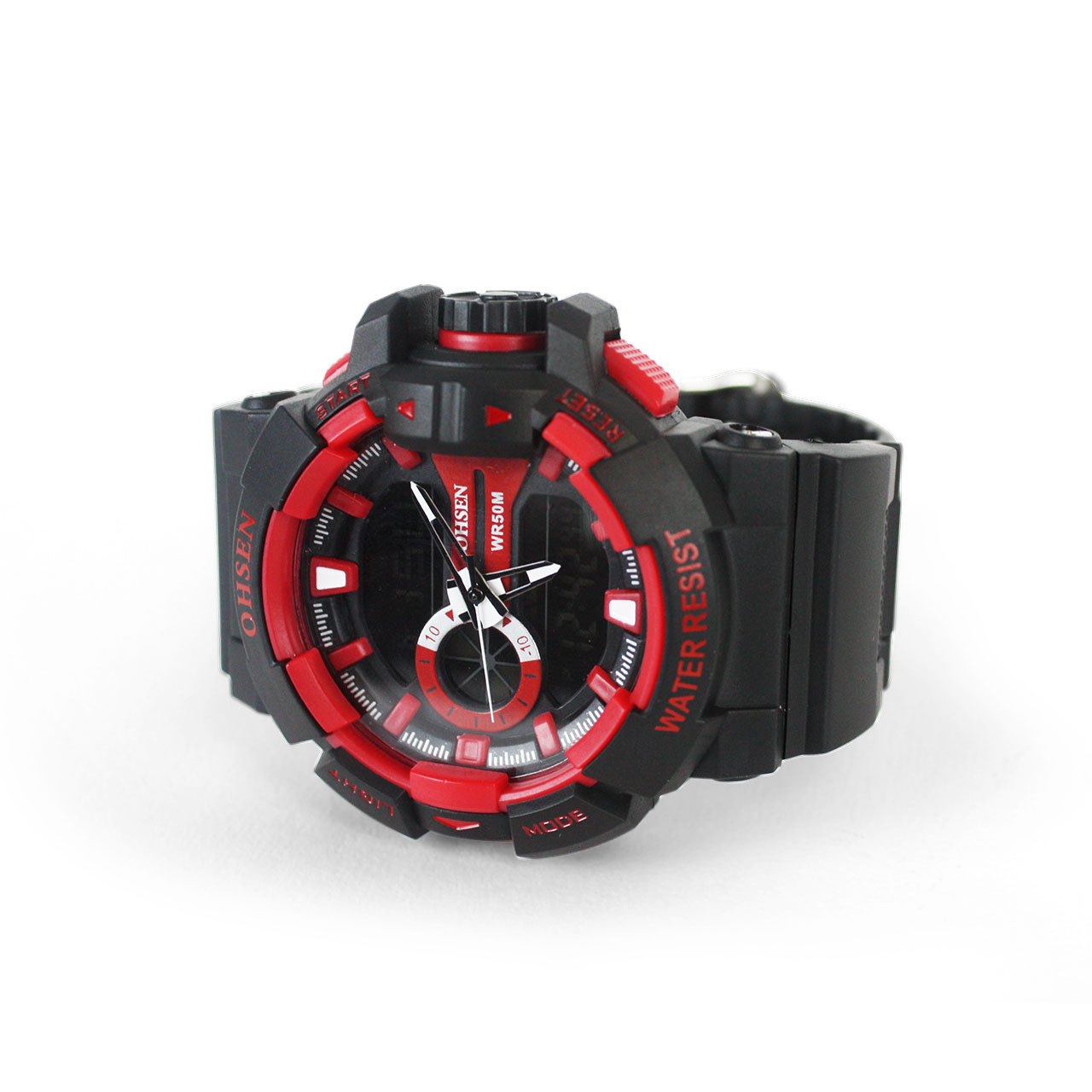 Ohsen 50M Sports AD1505 Ultra-Durable Red Water Resist Rubber Wristwatch
