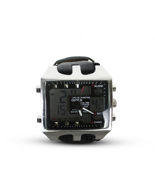 Men's OHSEN W068 Dual Time Big Face Analog Digital Alarm Chime LED Quartz Wristwatch