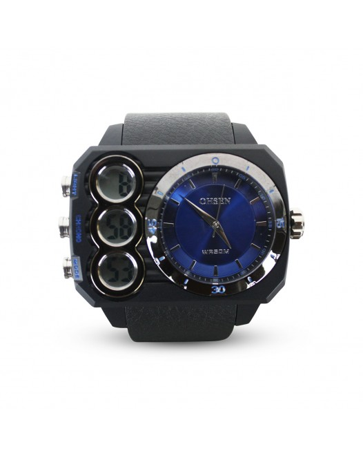 Men's OHSEN Digital 50M Quartz Big Dial Sport Waterproof Dual Time Silicone Wristwatch