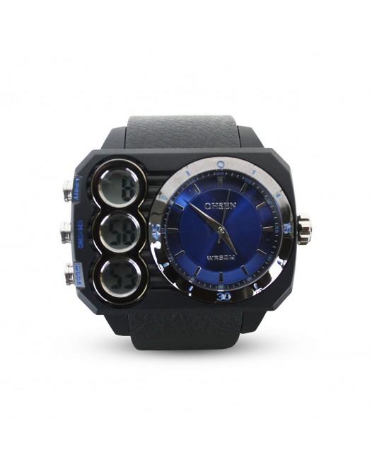 Men's OHSEN Digital 50M Quartz Big Dial Sport Waterproof Dual Time Silicone Wristwatch