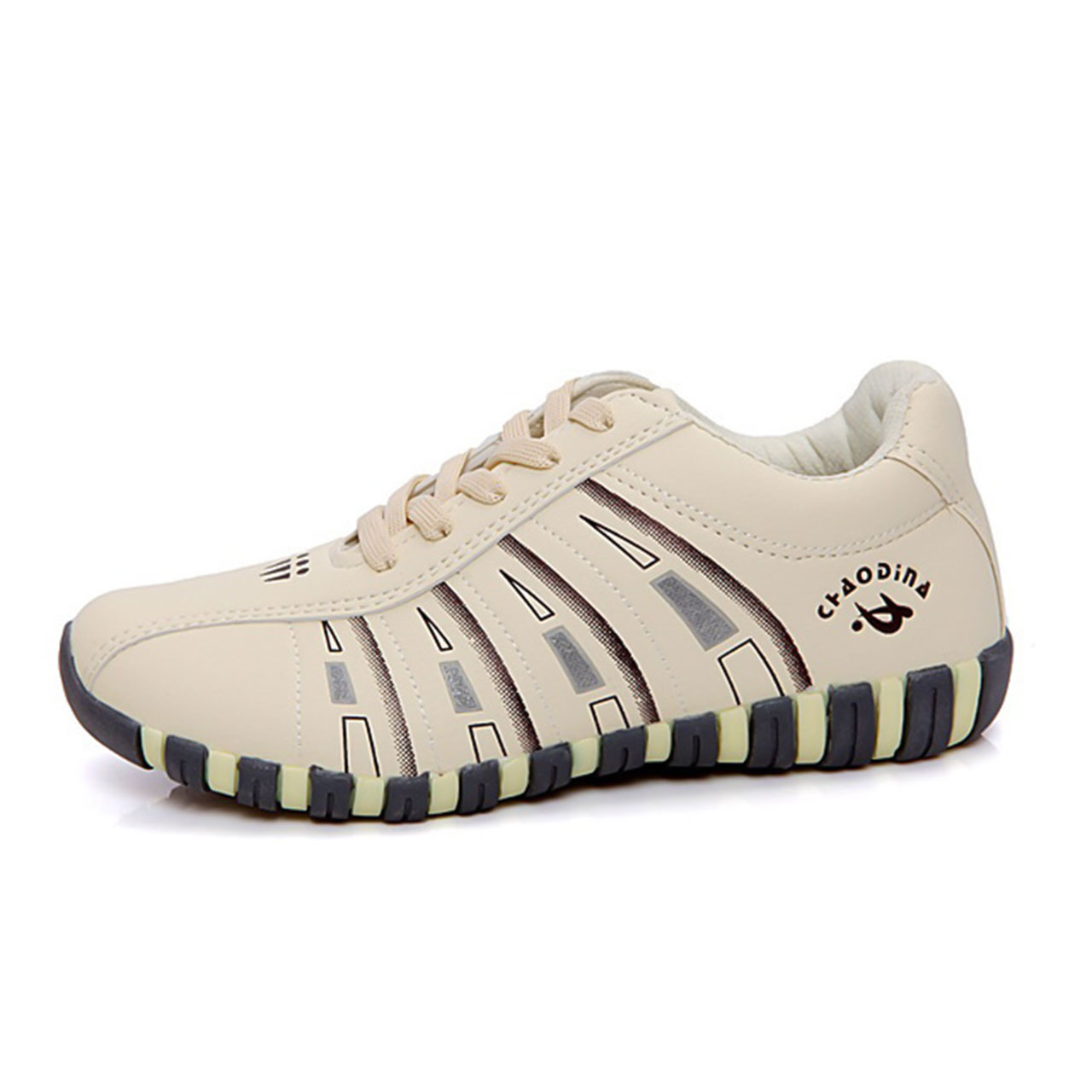 Women's Sneakers Flat Heel Lace-up PU Comfort Walking Shoes Beige
