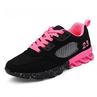Women's Athletic Shoes Platform Lace-up Tulle Comfort Walking Shoes Pink