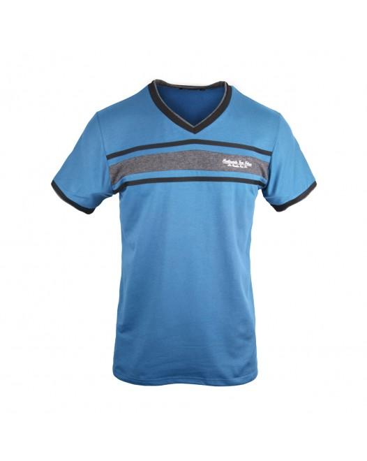 Crew Neck V Shaped T Shirt For Men - Black/Ash/Blue