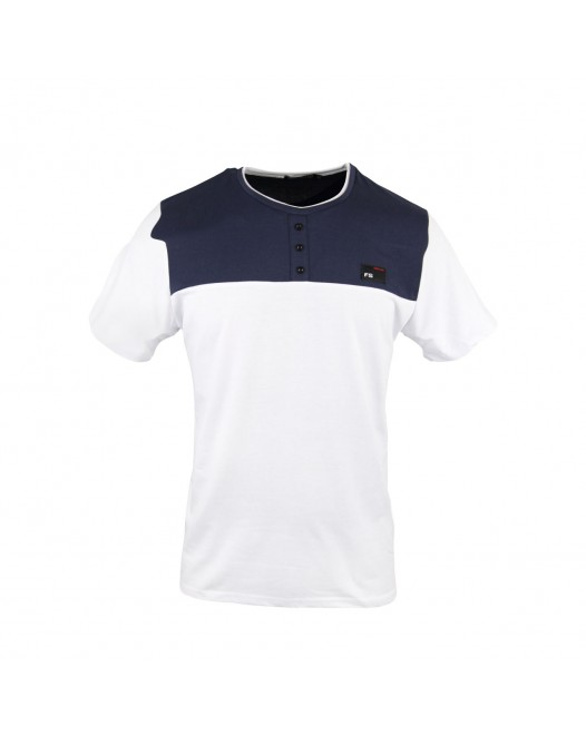 Men's Royal Blue & White Collar blocked Henley T-shirt