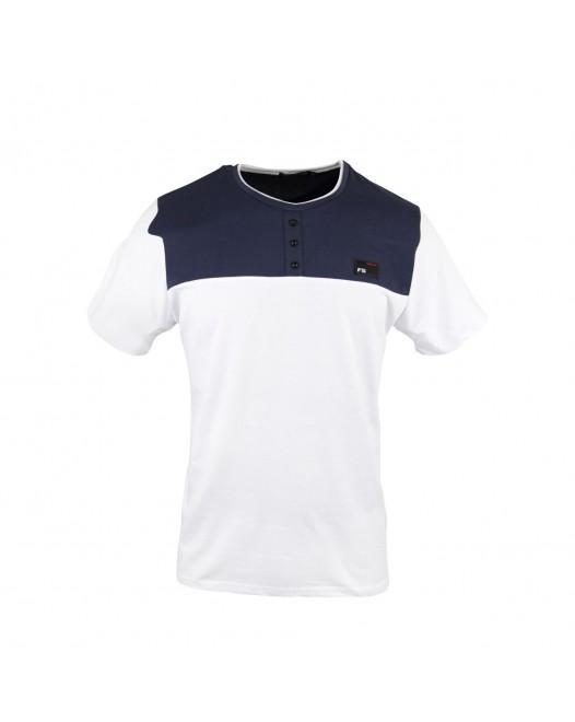 Men's Royal Blue & White Collar blocked Henley T-shirt