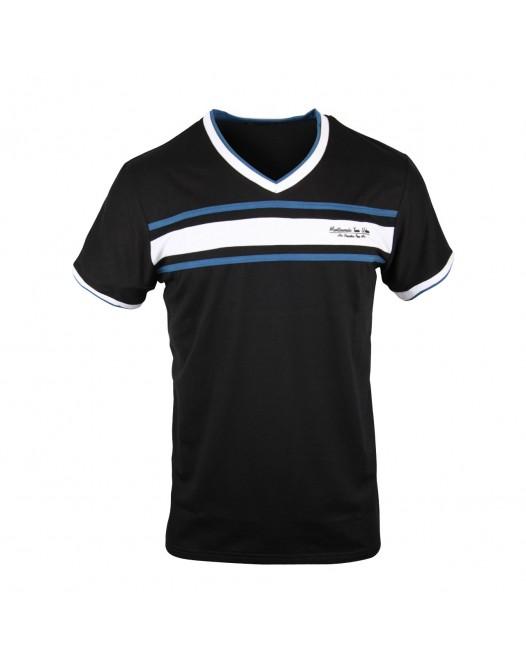 Crew Neck V - Shape Royal Black/Ash Short Sleeve Shirt For Men
