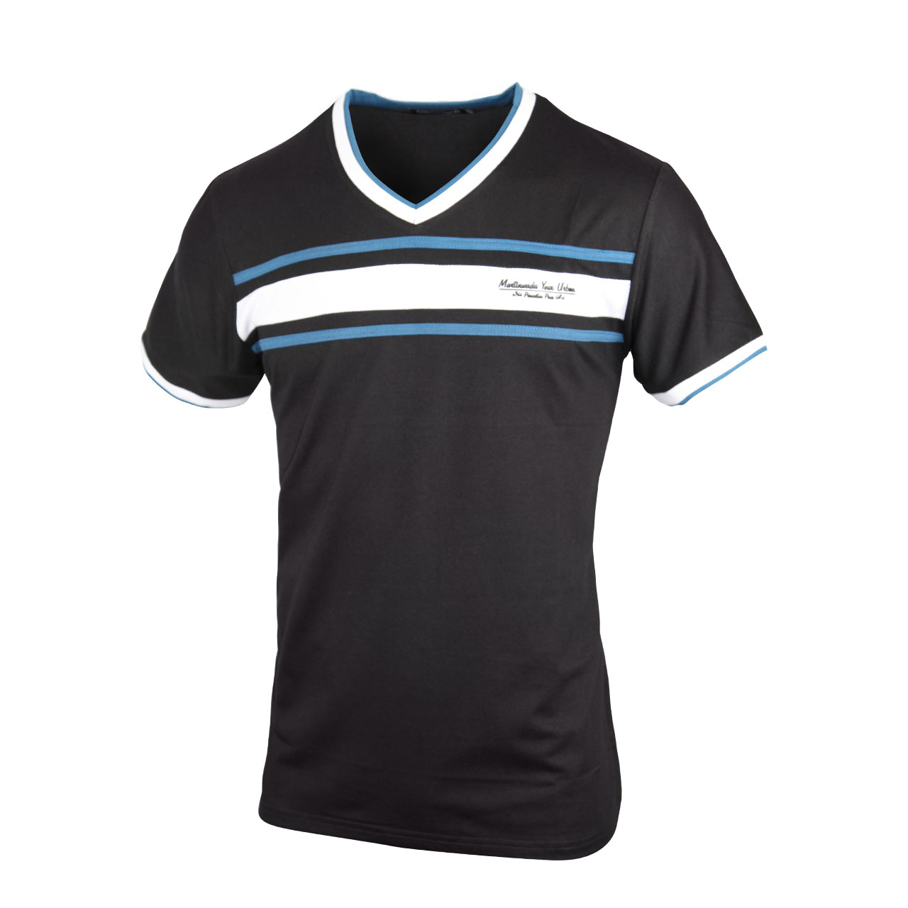 Crew Neck V Shaped T Shirt For Men - Black/Ash/Blue