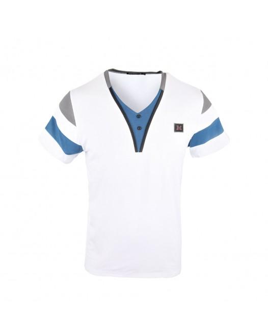 Men's Stylish Short Sleeve T-Shirt - White/Blue/Black