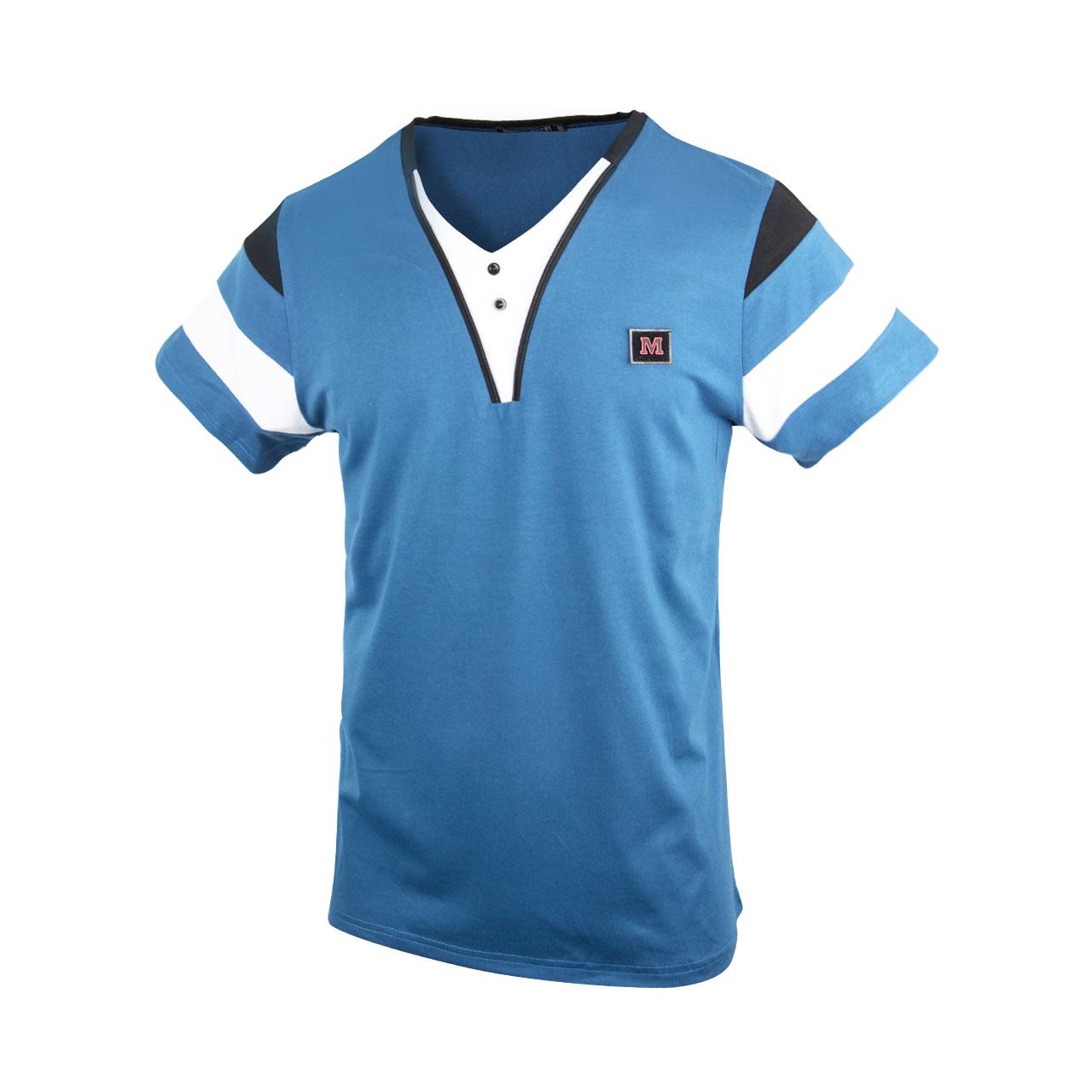 Men's Stylish Short Sleeve T-Shirt - White/Blue/Green