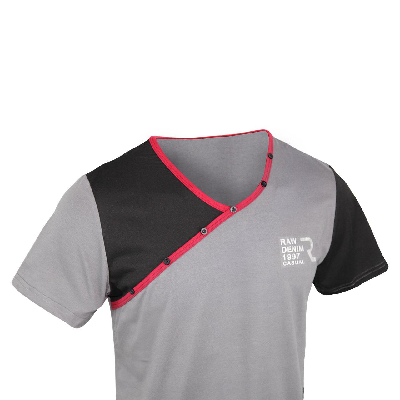 Men's Raw Denim 1997 Casual Logo Printed Short Sleeve V-Neck Shirt - Black/Ash/Maroon