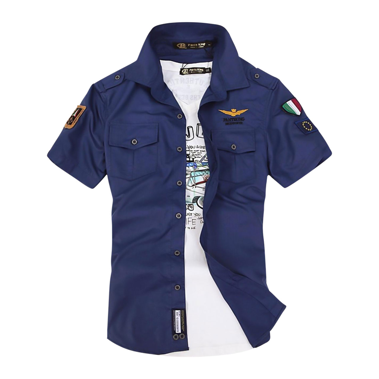 Men's Geometric Slim Shirt Street chic Military Daily Blue Sleeveless