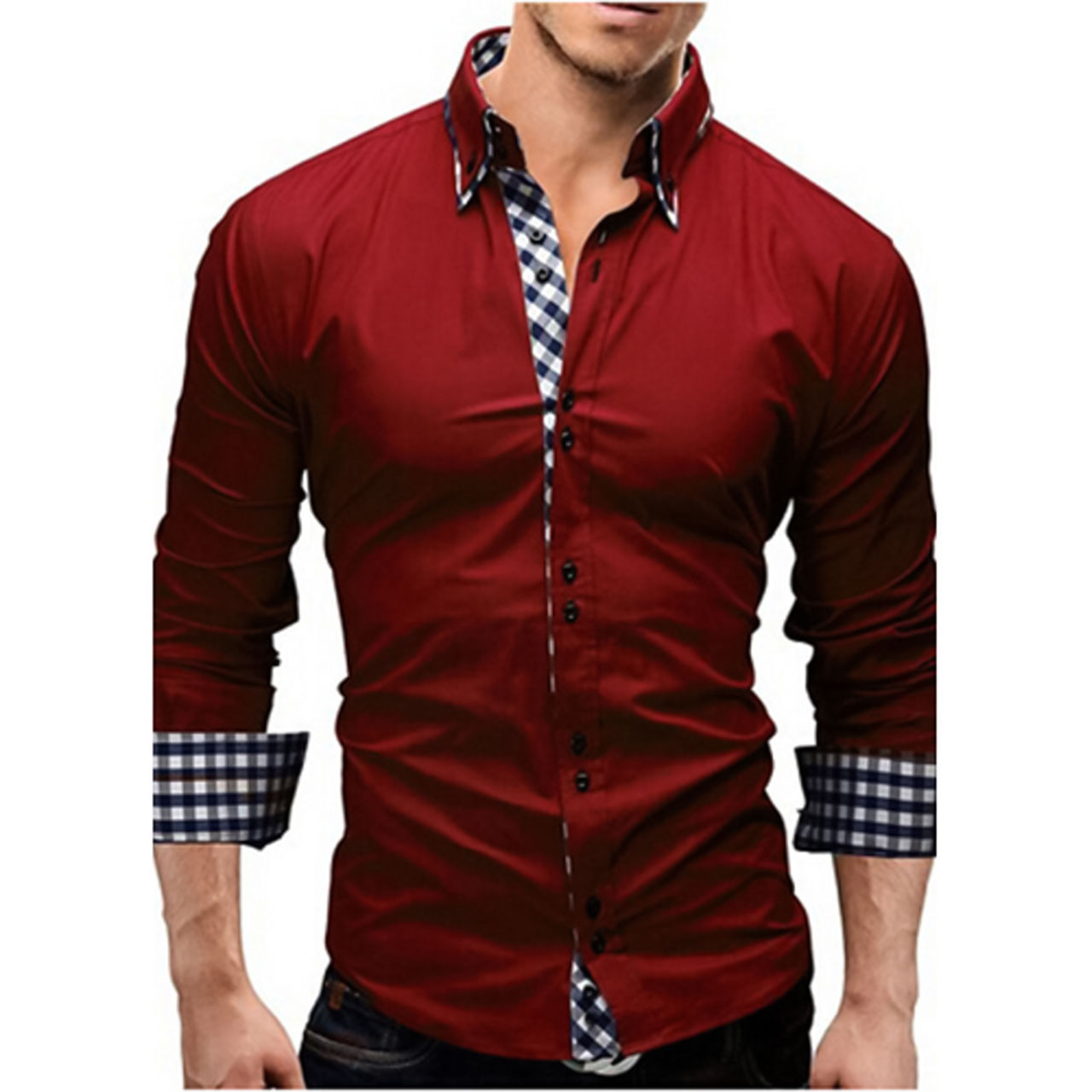 Men's Solid Colored Slim Shirt Business Daily Work Spread Collar Red Long Sleeve