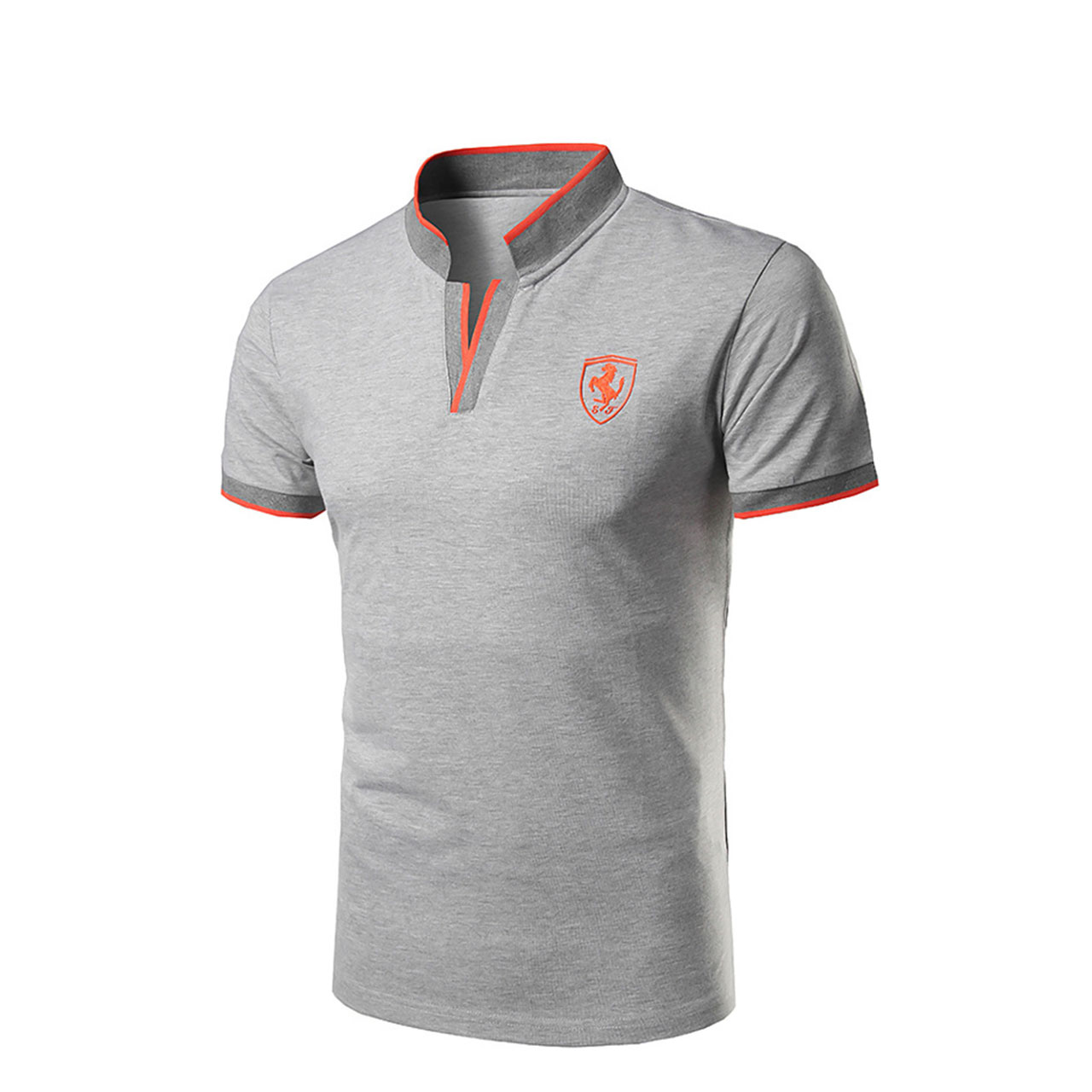 Men's Solid Colored Slim Polo Active Daily Sports Stand Gray Summer Short Sleeve
