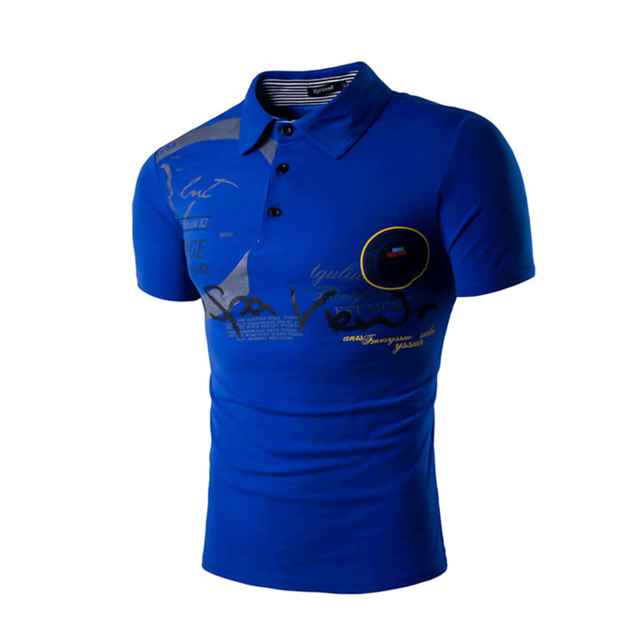 Men's Letter Print Slim Polo Active Sports Going out Weekend Shirt Collar Royal Blue Summer Short Sleeve