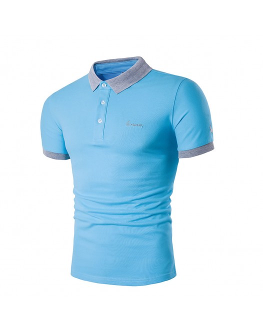 Men's Light Blue Solid Colored Slim Polo - Cotton Active Daily Weekend Shirt Collar Summer Short Sleeve