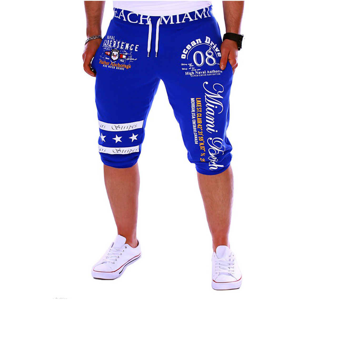 Men's Active / Basic Sports Weekend Loose / wfh Sweatpants / Shorts Pants - Letter Print Blue